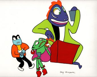 "Animation cel ""Face Like a Frog"" 1987 Lizard on the roof AF-31"