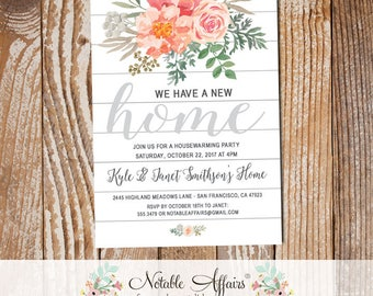 Watercolor Flowers Shiplap Housewarming Party Invitation - Shiplap New Home Open House Party Invite - White Shiplap Moving Announcement