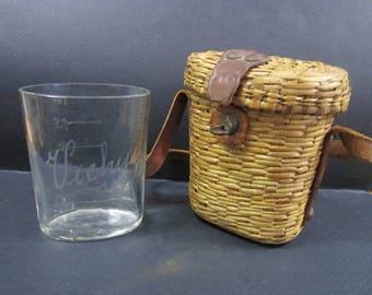 antique Verre Du Curiste French mineral spring glass and basket