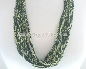 Multi Strand Statement Necklace, Green Necklace, Layered Statement Necklace, Women's Necklace, Fiber Art Jewelry, Made in USA