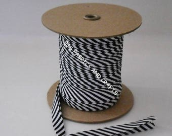"Dark Navy White Striped Bias Tape 1/2"" EXTRA Wide Double Fold Bias Tape US Made 12 Yds"