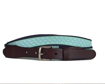 Blue Whale Navy Belt / Leather Belt / Canvas Belt / Preppy Webbing Belt for Men, Women and Children/Blue Whale on Pale Green and Navy