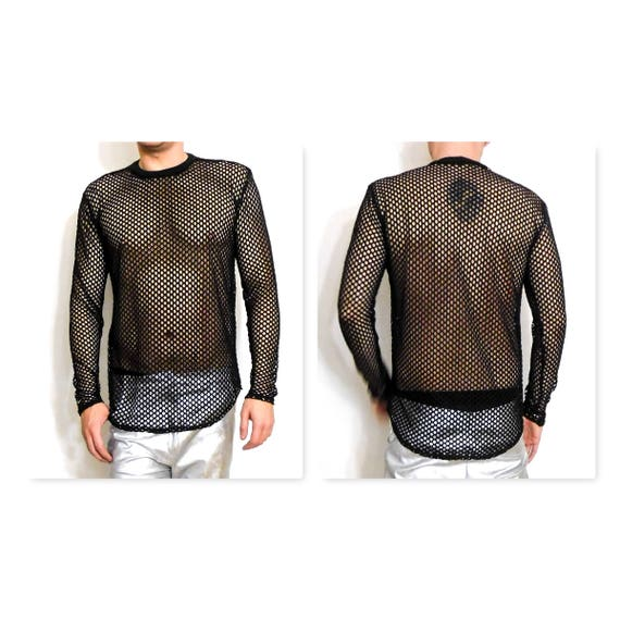 Wide Mesh See Through Long Sleeve Shirt Sexy overlay Enlongated length Shirttail