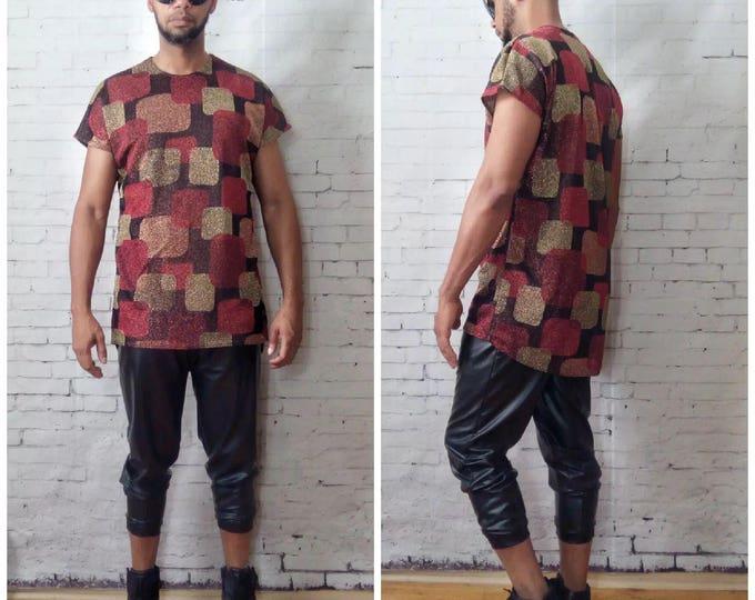 Metallic Geometric Print drop shoulder T-shirt