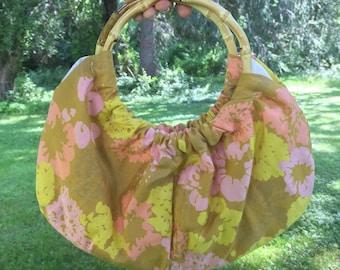 Tiki print bamboo handle purse