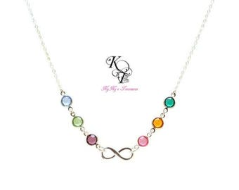 Family Necklace Birthstone Necklace Infinity Necklace Birthstone Mothers Necklace Mothers Day Gift Anniversary Gift Personalized Necklace