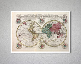 Mappe Monde, The World Map  by Hendrik de Leth, 1740 - Poster Paper, Sticker or Canvas Print / Gift Idea
