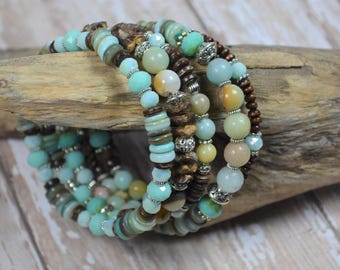 Amazonite & Wood Bracelet Beaded Memory Wire Bohemian Boho Chic Wrap Stacked Layered New Age Hippie Jewelry Gifts for Her Birthday BJGB82