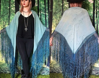 1920s Stevie Nicks Gatsby Turquoise Blue Silk Fringed Piano Shawl Duster
