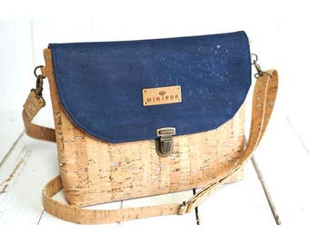 Shoulder bag vegan leather with silver and natural cork with a blue denim flap supple and soft, eco-friendly and ethical.