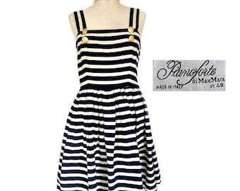 SALE Vintage Max Mara Pianoforte Nautical White Navy Blue Striped Full Skirt Sun Dress,Made in Italy Stripes drop waist summer dress M