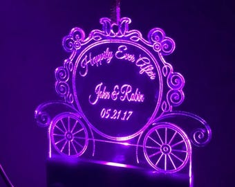 SUMMER SALE Lighted Personalized Cinderella Carriage Wedding Ornament, Disney Wedding, Christmas Ornament, Wedding Gift, Crystal Clear Acryl