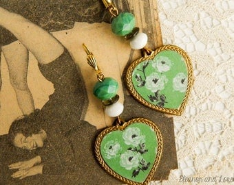 Upcycled floral cameo earrings / vintage cameo / upcycled jewelry / czech glass / upcycled earrings / assemblage earrings / reclaimed