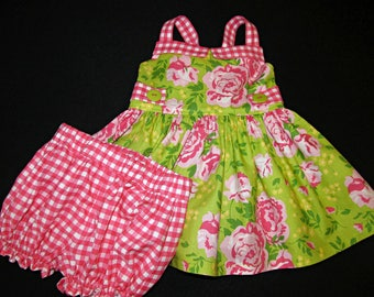 Peplum top and bloomer set size 2 ready to ship summer  MADE in the USA