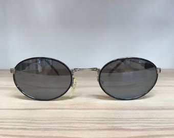 Black pewter oval vintage sunglasses