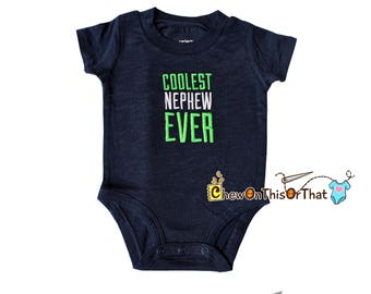 Navy Blue Coolest Nephew Short Sleeve Statement Onesie Shirt, Personalized Blue Embroidered Bodysuit Top, Gift from Aunt or Uncle
