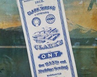 Clark Thread Company cardboard box, antique advertising, sewing notion