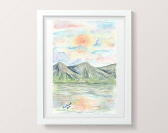 Watercolor Landscape Painting Nature Wall Art Decor Home Nature Gift Aquarelle Original Artwork Watercolor Painting Small Art Mountain