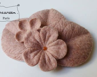 "fascinator hairclip ""winter garden"" pink powder"