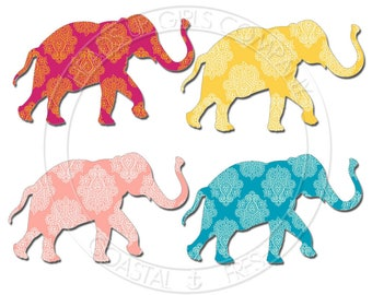 Digital Clipart Set of 4 Bohemian India Elephants in Paisley - Personal and Commercial Use EA005