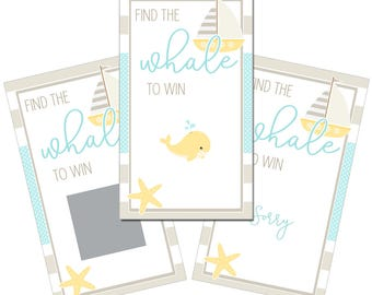 Set of 12 Scratch Off Game Cards with Tropical Nautical Whale Coastal Scratchers in Gender Neutral Yellow and Taupe CSC049