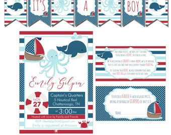 Digital Red and Blue Nautical Baby Shower Decorations Package Banner, Games, Diaper Raffle, Cupcake Toppers, Water Labels  CPP005