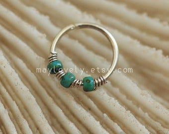 Cartilage hoop, hoop gold nose turquoise helix piercing tragus jewelry hoop simple base unique minimalist boho bohemian jewelry tiny hoop