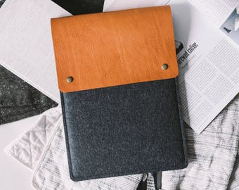 "iPad Pro 10.5 Case, iPad Pro Cover, iPad Pro Sleeve, Italian leather, german wool felt, 3 color combination, ""Courier"""