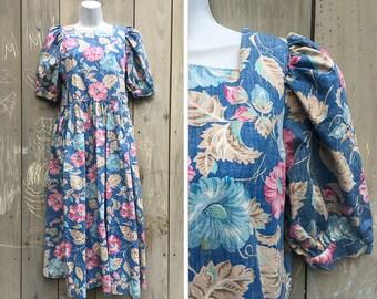 Vintage dress | 1980s Reyn Spooner nudie label floral Hawaiian maxi dress