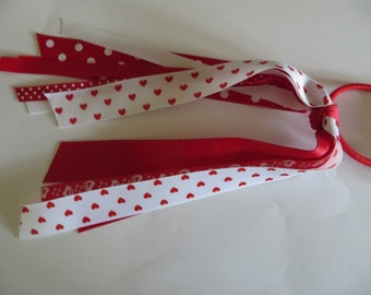 Valentine Red and White Hearts Ribbon Ponytail Streamer Grosgrain Ribbon