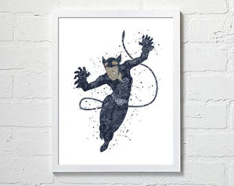 Catwoman wall art, Catwoman watercolor Catwoman printables Catwoman art print Catwoman wallpaper Catwoman DC art Catwoman art