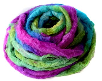 Sari Silk - Hand Dyed - recycled - 25g - pink - green - blue