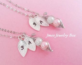 Two peas in a pod necklace set with hand stamped initials