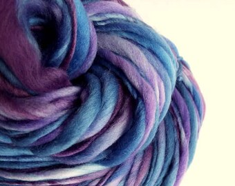 Thick and Thin yarn, chunky wool, purple and blue, bulky knitting yarn, chunky merino knitting wool, big knitting wool