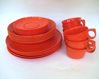 Fabulous Vintage Rosti Denmark Mepal Copenhagen Orange Dinnerware 24 Piece Service for Six Designed by Bjorn Christensen Danish Modern