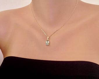 Gol plated Tiny Hamsa Hand Necklace, Evil Eye Gold Hamsa Pendant, Luck Jewelry, Hand of Fatima,  Bohomian Jewelry, Gift for Her, Birthday Gi