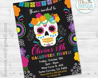Day of the dead, Sugar Skull, Halloween, Mexican, Printable Invitation, not an instant dowload
