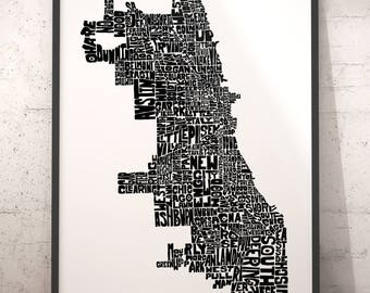 Chicago typography map, Chicago art print, map of Chicago, Chicago neighborhood map, Chicago map art, downtown Chicago, choose color & size