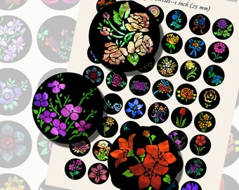 Flowers, Floral Nebulas, ONE INCH CIRCLES (25mm), with 1/2 inch (13mm) and 3/4 inch (20mm) circles included