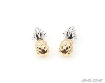 Two Tone Pineapple Pendant / 6.0mm x 13.0mm / BMGS350-P (2pcs)