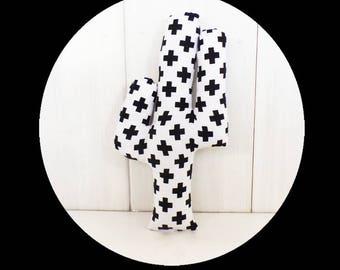 CACTUS fabric XOXO black and white geometric decoration 32 cm