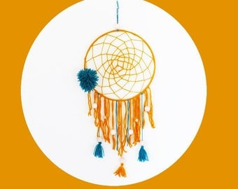 Dream-catcher/Dreamcatcher diameter 25 cm mustard and teal tassel, wool and wooden beads