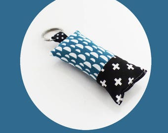Fabric blue patterns in black and white duck and cross keychain