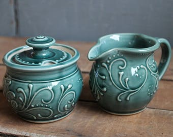 Cream and Sugar Set, Teal Green, Creamer, Sugar Bowl, Handmade, Ceramic, Mothers Day gift, present, IN STOCK, ready to ship