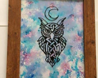 Framed Keltic Owl Hand Painted On Glass