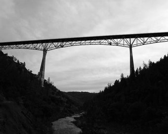 Photograph of the Foresthill Bridge Auburn, California - Black and White