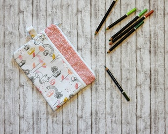Two pockets zippered pouch, Pen case, Cosmetic bag, Pen bag, Cosmetic case, Pencil case, Mum gift, School supplies, Gift for her