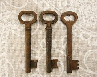 ON SALE Vintage Skeleton Metal Key - Set of 3 - Steampunk Supplies - k65
