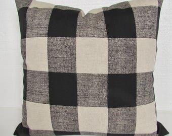 BLACK Plaid PILLOW Covers Black Buffalo Check Throw Pillows Black Tan Checked Pillow Covers 16 18x18 20 Black & Tan Pillow Home and Living
