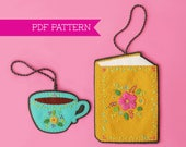 Felt Ornament, Book Lover, Felt Ornament Pattern, Teacup Ornament, Christmas Ornament, Ornament Pattern, Book Ornament, PDF pattern, Tea